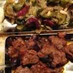 Bocconcini di vitella alle olive di Gaeta/Striscioline di pollo al latte e scarolella alla napoletana